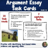 Argumentative Essay Task Cards   Text Based   Middle Schoo