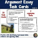 Argumentative Essay Task Cards | Text Based | Middle Schoo