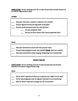 Argumentative Essay Template and Editing Checklist
