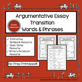 Argumentative Essay Transitional Words & Phrases Resource