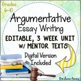 ARGUMENTATIVE WRITING UNIT COMMON CORE GRADES 6-10