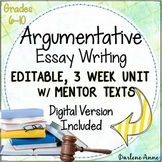 ARGUMENTATIVE ESSAY WRITING UNIT COMMON CORE GRADES 6-10