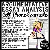Argumentative Essay Writing Sample Analysis Worksheet Activity; Middle School