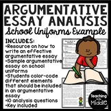 Argumentative Essay Writing Sample for Analysis with Questions (School Uniforms)