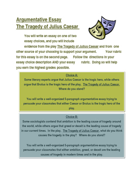 Argumentative Essay with evidence from The Tragedy of Julius Caesar
