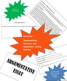 Argumentative, Explanatory, Narrative Writing Sorting Activity