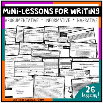 Argumentative, Informative, and Narrative Mini-lessons & Printables