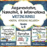 ARGUMENT WRITING, NARRATIVE WRITING, & INFORMATIONAL  WRITING UNITS BUNDLE