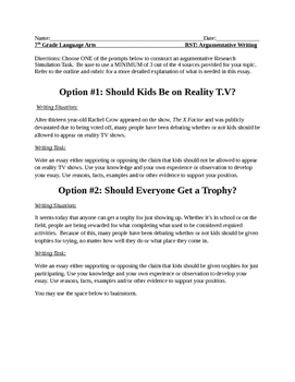 Argumentative/Opinon Writing/Research Simulation Task Prompts and Sources