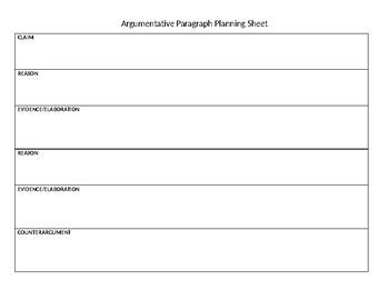 Argumentative Paragraph Planning Sheet