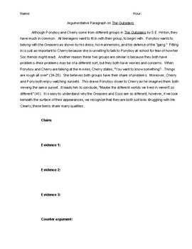 Argumentative Paragraph on The Outsiders