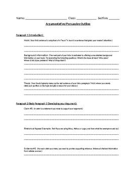 Argumentative/Persuasive Outline