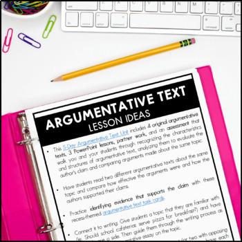 Argumentative Text - Reading Interactive Notebook