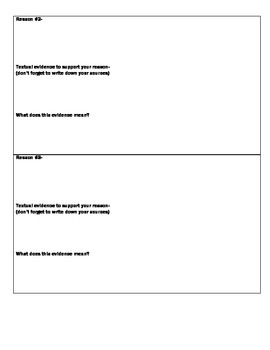 Argumentative (Persuasive) Essay Assignment Graphic Organizer- Middle