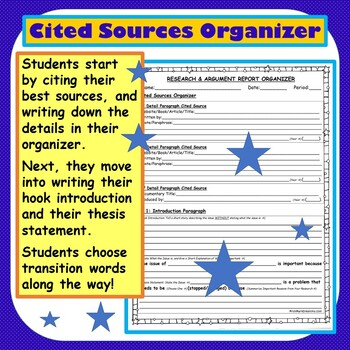 Argumentative/Research Report: 5 Paragraph Frames Organizer