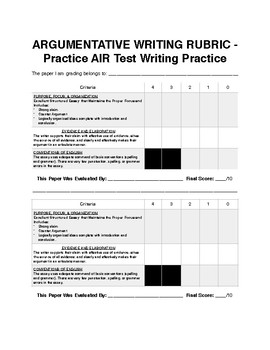 Argumentative Rubric Round Robin Grading Activity: Test Prep.