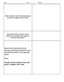 Argumentative Text Analysis Graphic Organizer