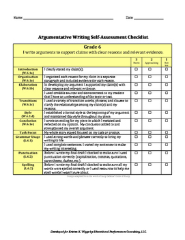 Argumentative Text-Based Writing Rubric and Checklist for 6th grade