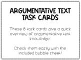 Argumentative Text Review Bubble Task Cards