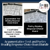 Argumentative Text and Poetry Reading Response Choice Board