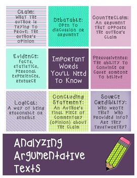 Argumentative Texts & Writing: Academic Vocabulary Anchor Chart