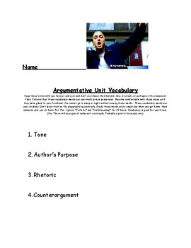 Argumentative Unit Vocabulary