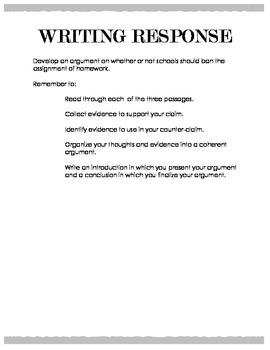 Argumentative Writing - Banning Homework in Schools