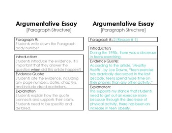 Argumentative Writing Body Template