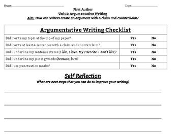 Argumentative Writing Checklist