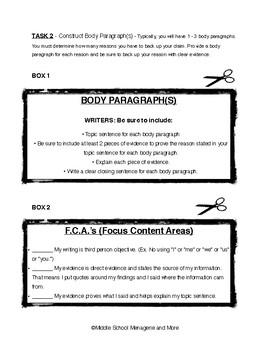 Argumentative Writing: Chunked Writing Practice (Ideal Writer's NB Activity)