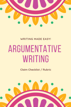 Argumentative Writing: Claims/Thesis Checklist and Rubric