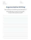 Argumentative Writing Essay Template