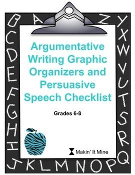 Argumentative Writing Graphic Organizers & Persuasive Speech Checklist