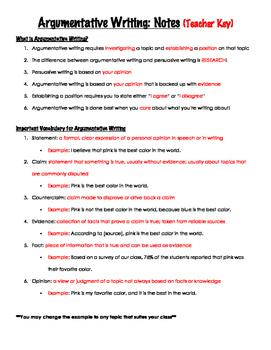 Argumentative Writing Introduction