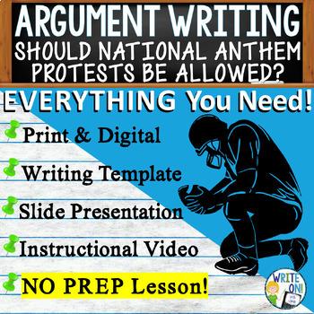 Argumentative Writing Lesson Prompt Digital Resource - National Anthem Protests