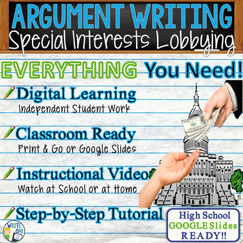 Argumentative Writing Lesson Prompt Digital Resource – Special Interest Lobbying