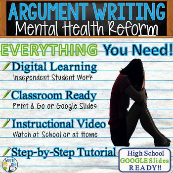 Argumentative Writing Lesson / Prompt Digital Resource - Mental Health Funding
