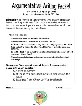 Chew on This / Argumentative Writing Packet