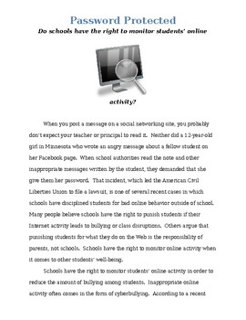 Argumentative Writing: Password Protected - Monitoring Students' Online Activity