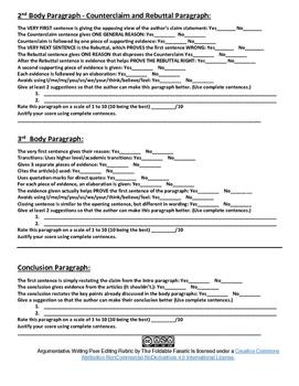 Argumentative Writing Peer Editing Rubric (Grades 6-12)