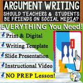 Argumentative Writing Middle School w/ Graphic Organizer Rubric Facebook Friends