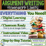 Argumentative Writing Lesson / Prompt – with Digital Resource – Homework Limits