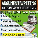 Argumentative Writing Middle School w/ Graphic Organizer Rubric  Homework Limits