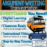 Argument Writing Lesson Prompt w/ Digital Resource Public/Private Transportation