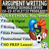 Argumentative Writing Middle School w/ Graphic Organizer, Rubric Co-ed Athletics