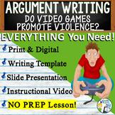 Argumentative Writing Middle School w/ Graphic Organizer, Rubric - Video Games