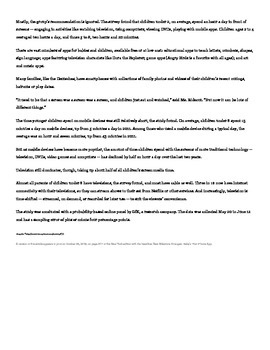 Argumentative Writing Prompt WITH STUDENT SAMPLE