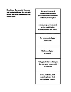 Argumentative Writing Quick Reference and Foldable