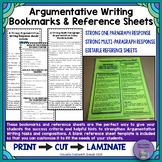Argumentative Writing Response Bookmarks and EDITABLE Reference Sheet