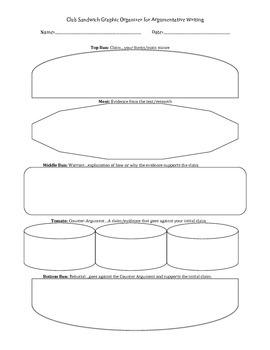 Argumentative Writing Sandwich Graphic Organizer
